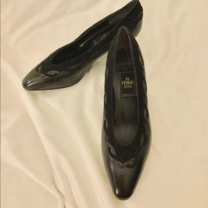 FENDI Black Low Heel Leather Shoe